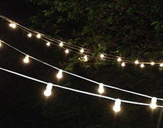 Cafe style string lighting rental & Event and Party Lighting Rental.